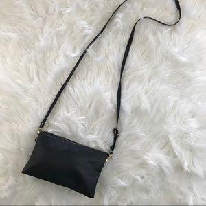 Handbags - Black Vegan Leather Waist Belt Crossbody Bag